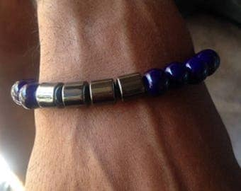 Blue Ceramic and Hematite Men's Bracelet