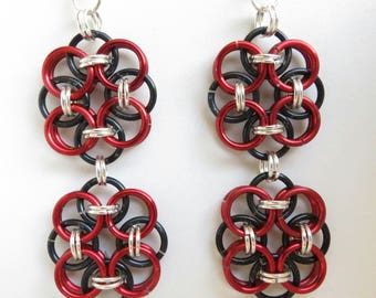 Double Flower Jump Ring Earrings