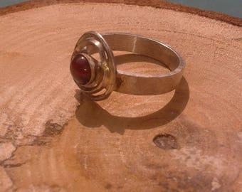 Twin circle garnet silver ring