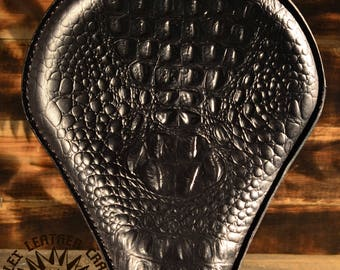 Handmade Bobber Seat Custom Alligator Black