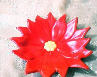 Hand Painted Ceramic Poinsettia Bowl