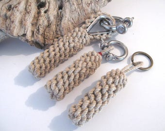 "Keyring ""barrier hype"" natural hemp with stainless steel shackle"
