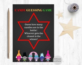 Baby Shower Candy Guessing Game Trolls   Trolls Baby Shower Candy Guessing Game   Trolls Game