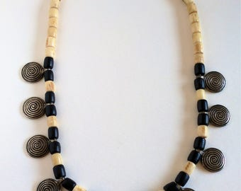Bohemian African Black and White Cow Bone with Metal Bead Necklace.