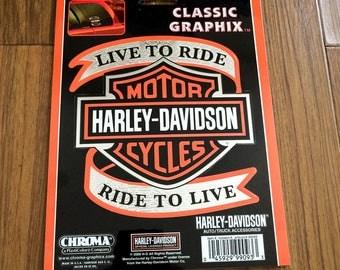 Harley Davidson Live to Ride Bar and Shield Harley Davidson Sticker Decal
