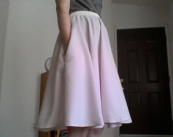 Light Pink Circle Skirt with Pockets - Lightweight for summer.