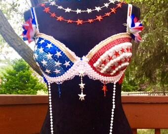 Bejeweled Bra, Red, White, & Blue Bra, 4th of July Bra, 36 C, Fourth of July, USA Bra, Flag Theme Bra, Pearl Bra