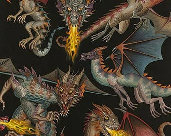 Dragon Fabric, Tale of the Dragons, Dragons, Black, Alexander Henry Fabric, Cotton, Fabric by the Yard, TheFabricEdge