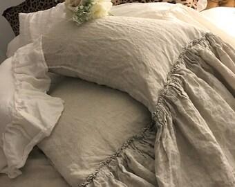Linen Pillowcase with Ruffle Linen Pillow Case Pillow Cover Linen Bedding Soft Pillowcases Bed Pillows Housewarming Gift Farmhouse Decor