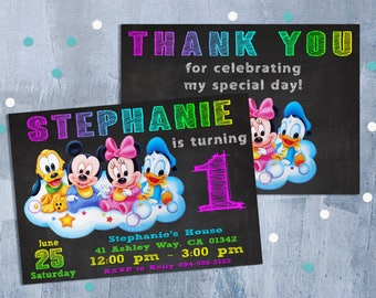 Baby Mickey Mouse Invitation, Mickey Mouse Clubhouse Birthday Party Invitations with Free Thank You Card, Personalized JPEG