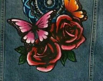 Custom hand painted denim jacket