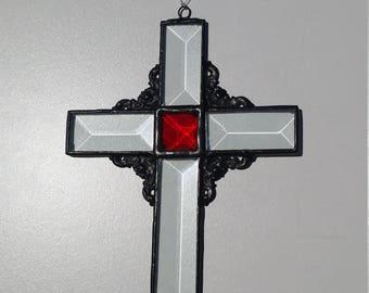 Cross, Suncatcher, Glass, Stained Glass