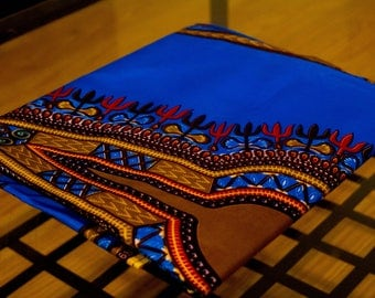 Cerulean Blue & Brown Dashiki Fabric