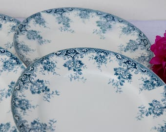 Set of 4 French Ironstone Plates. Terre de Fer. St. Amand. Blue Transferware. Creamware.