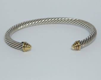 David Yurman Cable Classics Bracelet Sterling Silver and 14K Gold