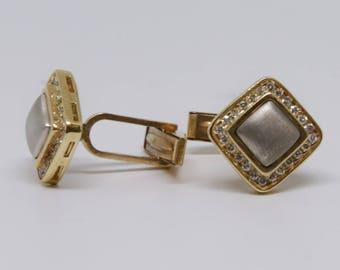 Yellow and White gold 14K Diamond Cufflinks