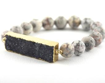 Jasper Agate Druzy Bracelet, Matte Beads, Gray-Brown Gemstone Bracelet, Gray Beads, Slate Gray Druzy Pendant
