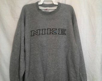 vintage nike spell out sweatshirt gray colour L size made in usa