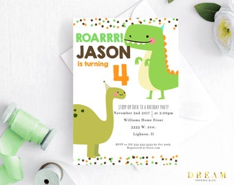Dinosaur birthday invitation, Dino birthday party, dinosaur boy birthday invitation, dinosaur party, t-rex birthday invitation, boy party