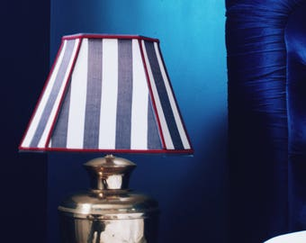 Pair of Vintage Octagonal Blue and White Striped Lampshades with Red Piping