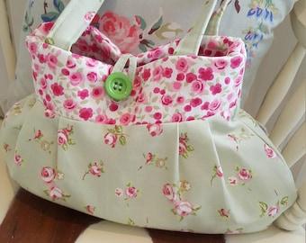 Pretty Fabric Green and Pink Floral Bag, handbag, shopping bag