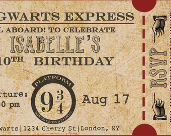 Harry Potter Birthday Party Hogwarts Express Train Ticket Invitation Digital Print