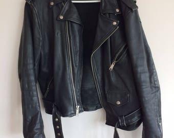 Vintage Black Leather Jacket / Motorcycle Jacket /