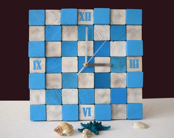 Wall clock, Wood clock, Modern Beach Clock, Gift for friend, Natural wooden clock, Cube clock, Blue & white Gift, Clock for gift, New home