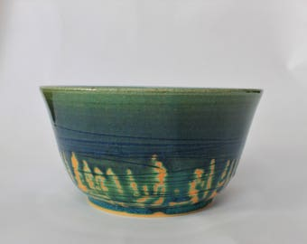 Blue green tall bowl with texture