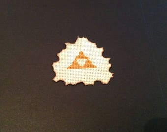 Framed Zelda cross stitch, Triforce.