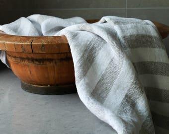 Natural Stripe Linen Bath & Beach Towel - Turkish