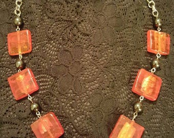 Red square glass bead necklace