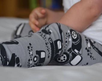 Organic cotton leggings grey diggers and tractors // baby leggings // toddler leggings // baby gift // baby shower