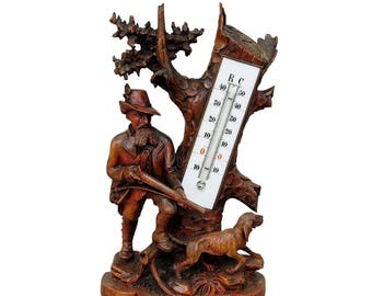 carved wood thermometer stand hunter and staghound 1910
