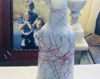 Vintage Rare Hazel Atlas Spaghetti Drizzle Milk Glass Bottle