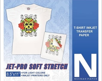 Neenah Jet Pro Soft Stretch Heat Transfer Paper for White/Light T-Shirts 10 Sheets (Pack)