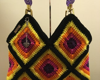 Colorful Granny Square Crochet Handbag