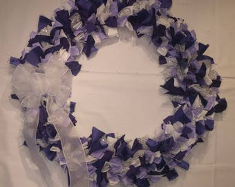 Purple and White Cloth Wreath