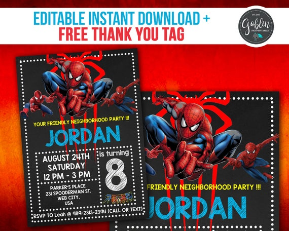 spiderman invitation spiderman birthday invitation spiderman, Birthday invitations