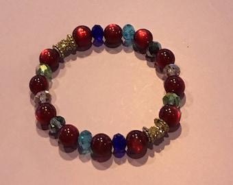 Novica Red Cat Eye/Multicolored Crystal Bracelets