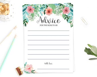 Whimsical Baby Shower Advice Card Baby Girl Shower Keepsake Girls Baby Shower Games Advice for Mom to be Advice for Mommy Cards Floral FG1