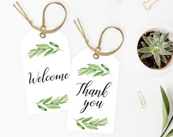 Baby Shower Favor Tags Printable, Green Favors Tags for Baby Shower, Thank You Tags Template, Editable Baby Shower Labels, Green Leaves, GL1