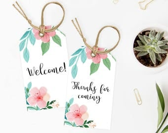 Floral Baby Shower Tags for Favors Girl Baby Shower Favor Tags Download Pink Flowers Baby Shower Thank You Tags Template Download PDF FG1