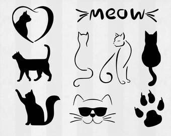 Cat SVG Bundle, cat clipart, cat cut files, svg files for silhouette, files for cricut, svg, dxf, eps, cuttable design