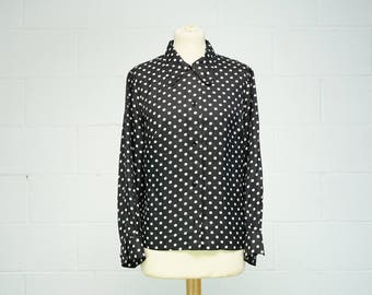 Vintage Women's Black Polka Dot Blouse