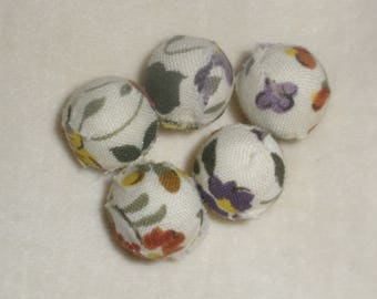 Set of five fabric beads