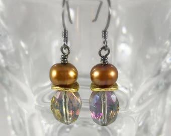 Pearl, Crystal and Gunmetal Earrings