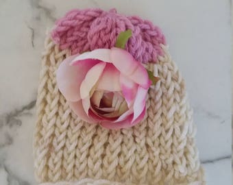 Baby Beanie Hat for Newborn with Pink Rose