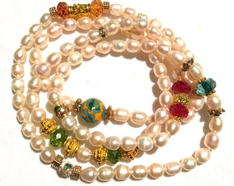 Freshwater Pearl and Tourmaline Gemstone Hybrid Twist Bead Bracelet with Gold Plated Accents Beads necklace charm crystals