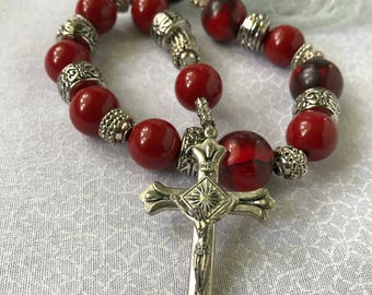 Red Resin Pocket Rosary